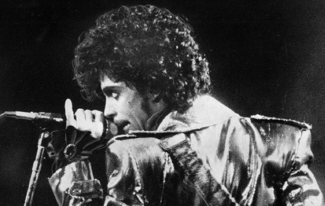 Prince at the Aud on Dec. 17, 1984, the first night of back-to-back performances in Buffalo. (News file photo)