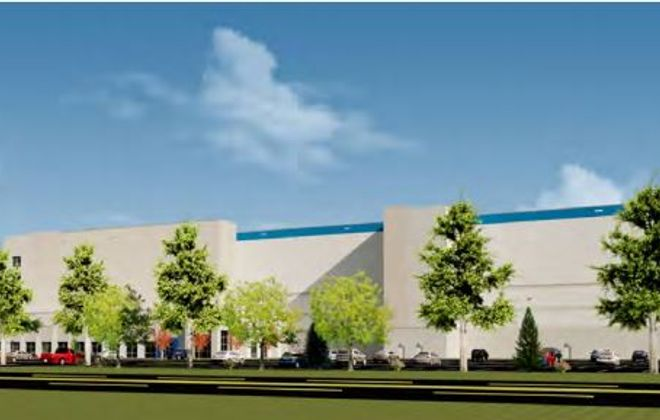 A rendering of the proposed e-commerce facility on Grand Island. (Image courtesy of Langan)