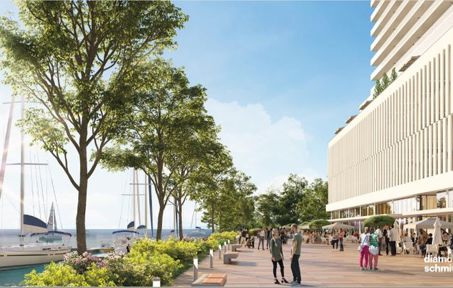 A rendering shows the Queen City Landing tower and public promenade. (Image courtesy of Gerald Buchheit)