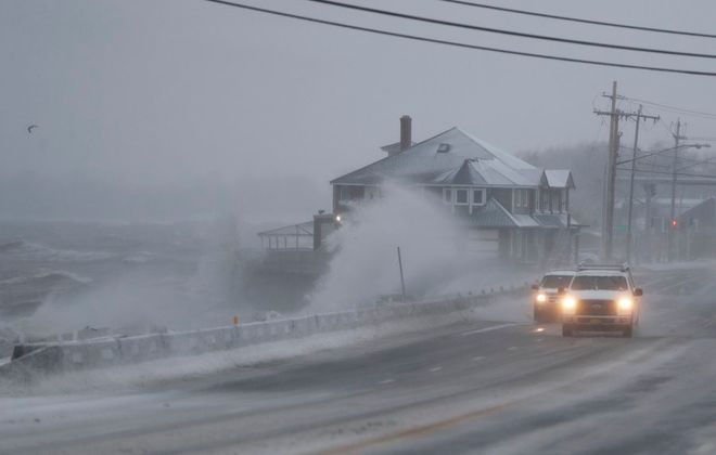Cars brave the ice and wind as they pass Hoak's Restaurant in Hamburg Thursday, February 27, 2020.   (Mark Mulville/Buffalo News)