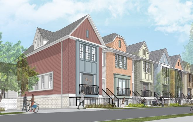 A rendering of the West Utica town houses that are part of the Elmwood Crossing project. (Image courtesy of Ellicott Development Co.)