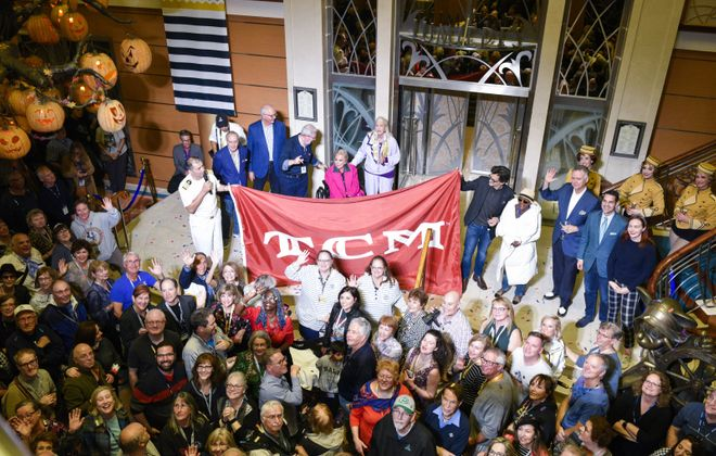 Turner Classic Movie hosts, celebrities and fans gather in the lobby of the Disney Magic for the sendoff party of the 2019 TCM Classic Cruise. (Turner Classic Movies)