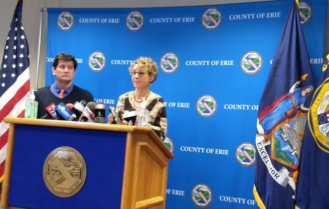 Erie County Health Commissioner Gale Burstein and County Executive Mark Poloncarz discuss ongoing efforts to prepare for potential coronavirus outbreak Friday. (Sandra Tan/Buffalo News)