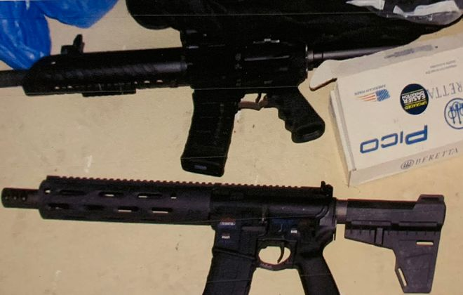 These two guns were seized at 56 Grimes St. in a raid by federal authorities.
