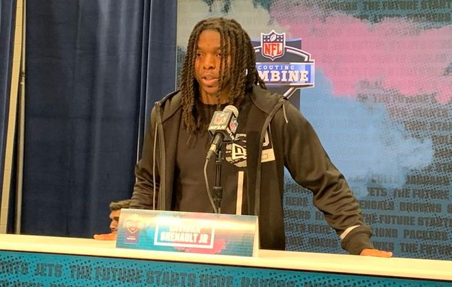 Colorado receiver Laviska Shenault Jr. meets with reporters at the NFL scouting combine. (Jay Skurski/Buffalo News)