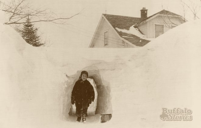 Having school closed as the result of too much snow seemed to happen less frequently in times past, like when this photo was taken in Orchard Park in 1947.