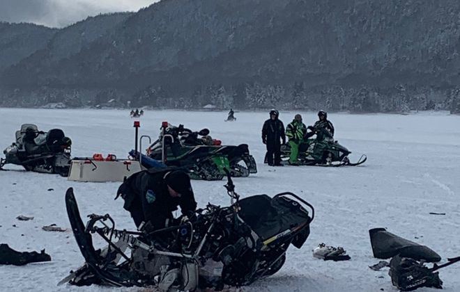 The scene of serious snowmobile crash on Fourth Lake. (Photo provided by Town of Webb police)