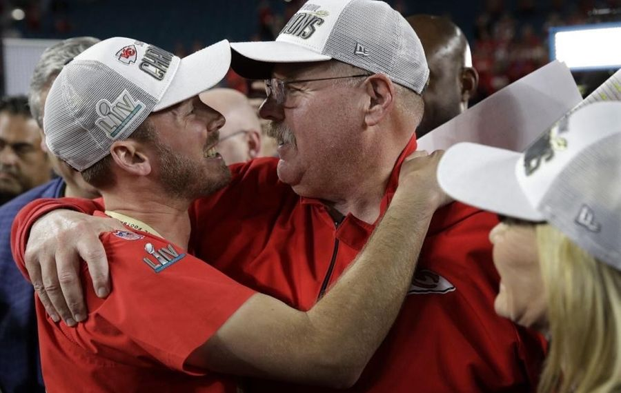 Hamburg native Mitchell Reynolds with Andy Reid, head coach of the Kansas City Chiefs, after the Chiefs won in the Super Bowl. (Photo courtesy of Mitchell Reynolds)
