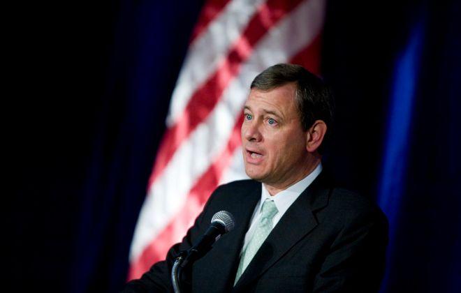 U.S. Supreme Court Chief Justice John Roberts speaks in 2007. (Brendan Smialowski/Getty Images)