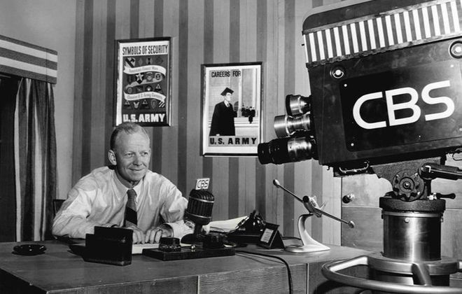 """Press release photo of Red Barber from his television program """"Red Barber's Club House"""" in 1949."""