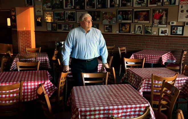 Lou Billittier, owner of the Chef's inside his closed restaurant due to the Covid-19 pandemic, on Friday, April 3, 2020. (Harry Scull Jr./Buffalo News)