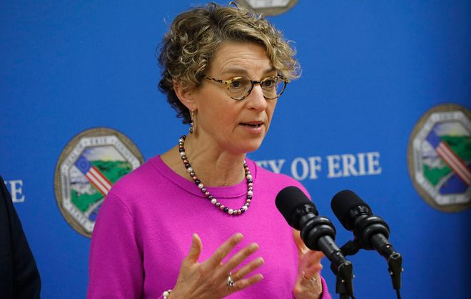 Erie County Health Commissioner Dr. Gale Burstein updates the public on the Covid-19 pandemic. (Derek Gee/Buffalo News)