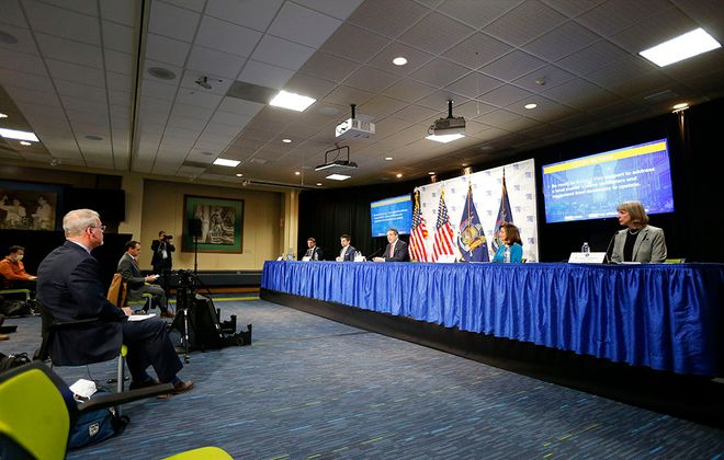 Gov Andrew Cuomo addresses the media at Roswell Park in Buffalo on April 21.  (Mark Mulville/Buffalo News)