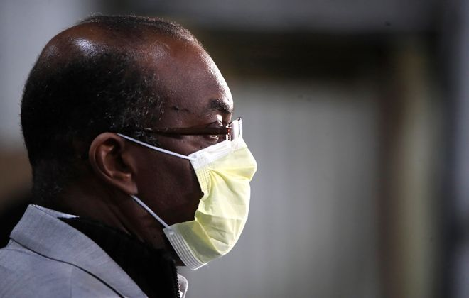 Mayor Byron Brown wearing a face mask on  April 23, 2020. (Harry Scull Jr./Buffalo News)