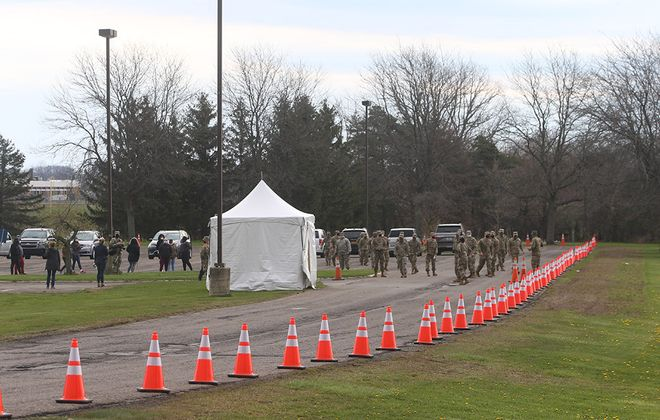 The driveway to  a state Covid-19 diagnostic testing site at Niagara County Community College in Sanborn on April 29, 2020. (John Hickey/Buffalo News)
