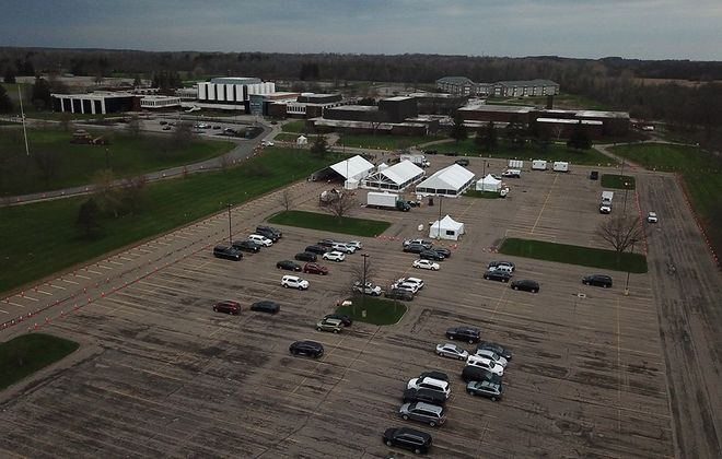 A drone photo of the state Health Department Covid-19 testing site at Niagara County Community College on Wednesday, April 29, 2020. (John Hickey/Buffalo News)