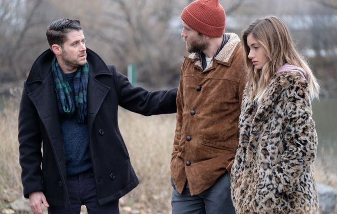 "Director and actor Jon Abrahams, left, co-star with Mark Webber and Nicole Elizabeth Berger in the Buffalo-made film ""Clover."" It is the second movie Abrahams has shot in Buffalo. (Freestyle Digital Media)"