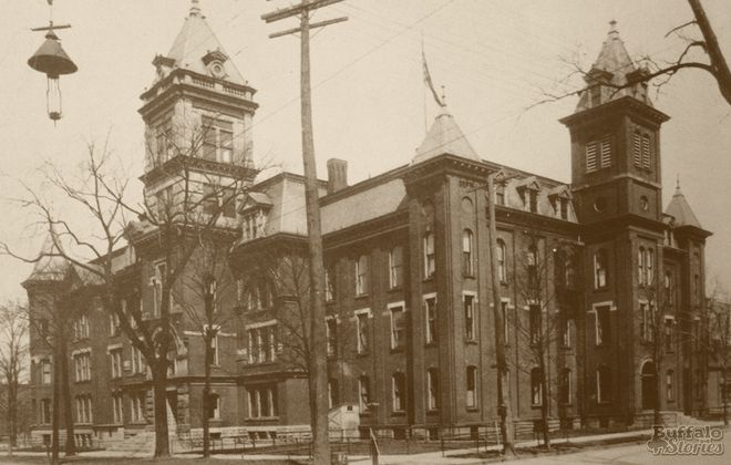 Old Central High, once located on Niagara Square, was Buffalo's temporary influenza hospital in 1918.