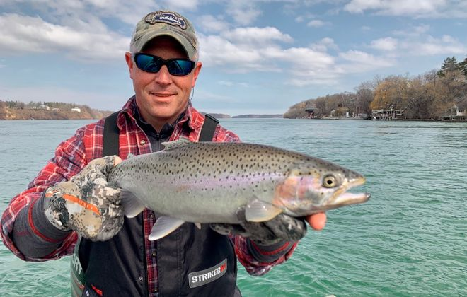 Chris Taylor of Grand Island caught this steelhead in the lower Niagara River last week. While April 1 is the inland trout opener, anglers can fish the Great Lakes and tributaries all year long. (Photo courtesy Capt. Ryan O'Neill)