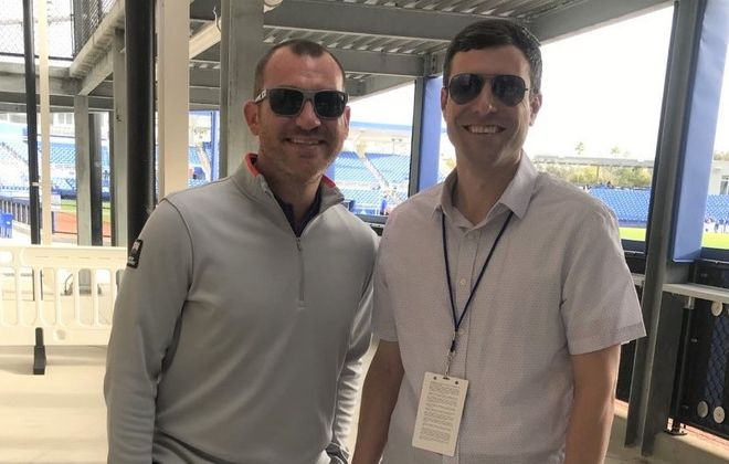 Pat Malacaro, right, reunites with Blue Jays voice Ben Wagner last month at Blue Jays spring training in Dunedin, Fla. (Photo courtesy Ben Wagner)