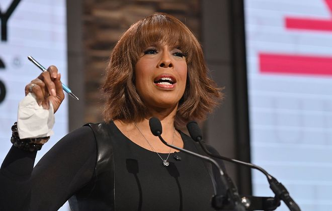 Gayle King speaks during the 62nd Grammy Awards Nominations Conference at CBS Broadcast Center on November 20, 2019 in New York City. (Photo by Angela Weiss / AFP) (Photo by ANGELA WEISS/AFP via Getty Images)