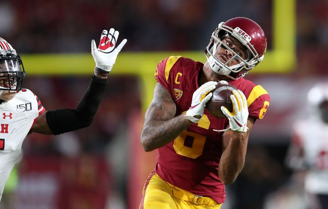 Wide receiver Michael Pittman Jr. of USC makes a catch against Utah on Sept. 20, 2019. (Meg Oliphant/Getty Images)