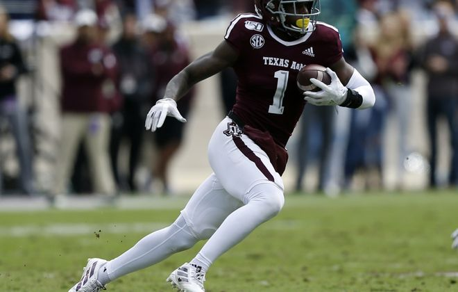 Wide receiver Quartney Davis of Texas A&M could be an intriguing option (Bob Levey/Getty Images)