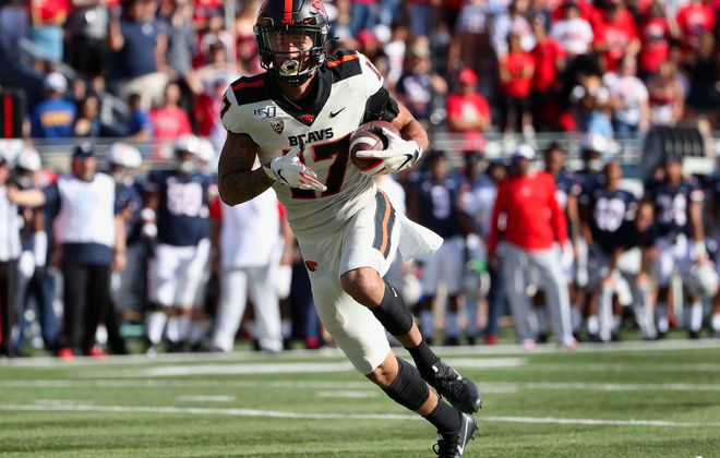 Oregon State's Isaiah Hodgins was one of two wide receivers drafted by the Buffalo Bills on Saturday. (Getty Images)