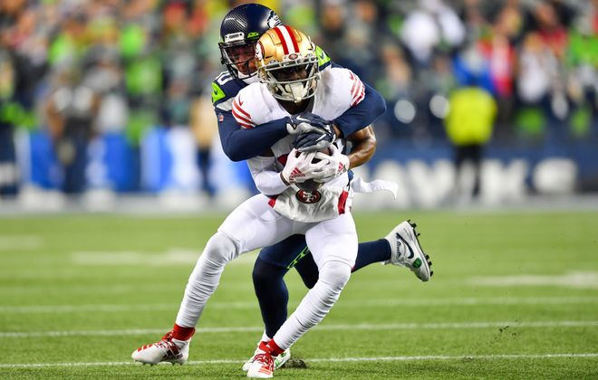 Emmanuel Sanders, formerly of the San Francisco 49ers, signed with the Saints. (Getty Images)