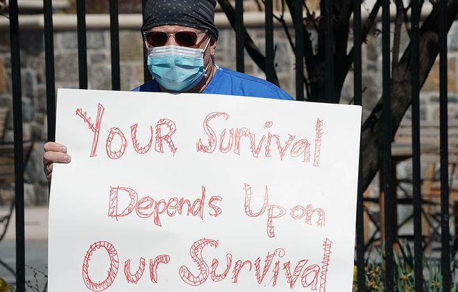 Montefiore Medical Center nurses in New York City call for N95 masks and other critical gear to handle the coronavirus. Some hospitals are trying to prevent health professionals from speaking to the public. (Getty Images)