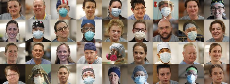They are men and women working on the front lines against Covid-19 in area hospitals. Their faces are red, bandaged, masked, serious, tired, hopeful and smiling.  (Sharon Cantillon/Buffalo News)