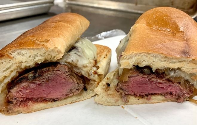 Thin Man Brewery collaborated with the Old Pink on a pop-up focusing on the Allentown dive bar's steak sandwich. Here's a cross-section of sandwich just prior to serving. (via Mike Shatzel/Thin Man)