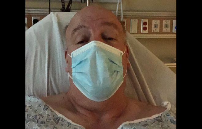 Joseph Emminger when he was at  Kenmore Mercy Hospital after contracting Covid-19. (Photo courtesy of Joseph Emminger )