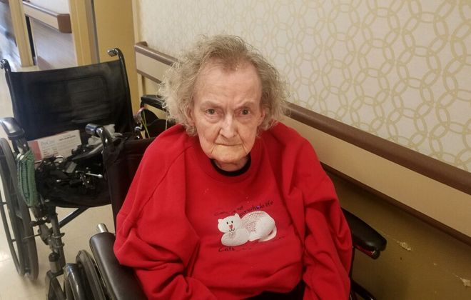 Maxine Schwartz, 92, in a photo taken two days before she died March 27. 2020, at Absolut Center for Nursing and Rehabilitation at Aurora Park, a nursing home in East Aurora. Schwartz had refused to eat after the state banned visits to nursing homes on March 13, according to her daughter Dorothy Carlone. (Photo courtesy of Dorothy Carlone)