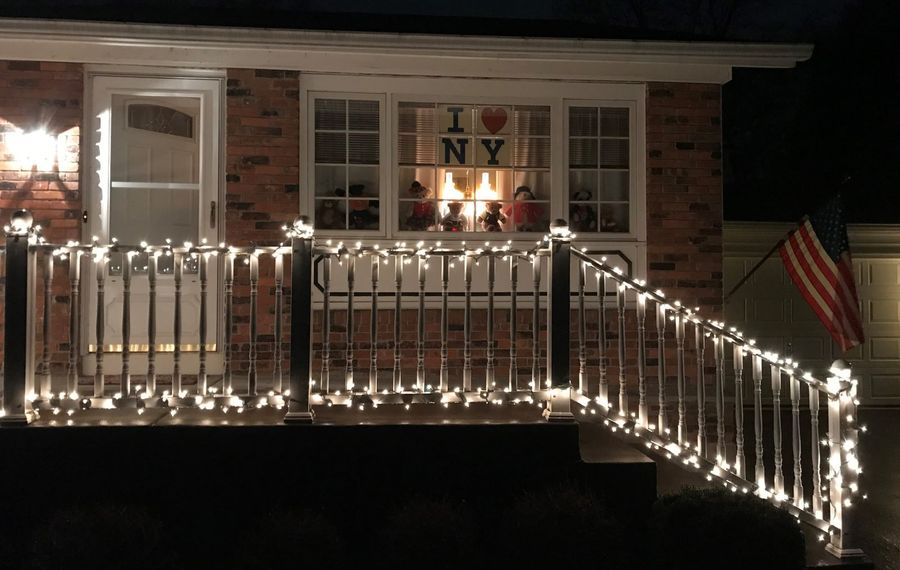 A display of lights and teddy bears in Clarence. (Photo courtesy of Miriam Haefner)
