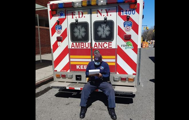 Julio Salgado, a Dunkirk native at work as EMT during Covid-19 crisis in New York City. (Provided photo)