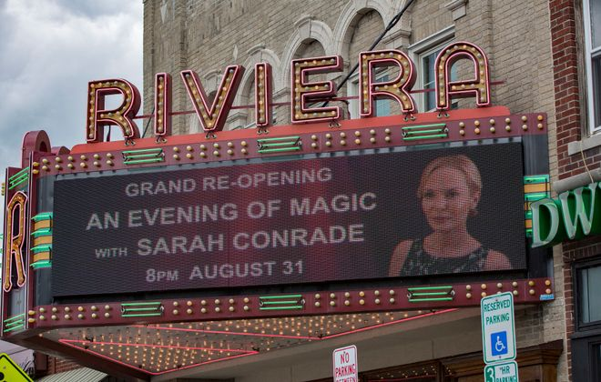 "The Riviera Theatre had a starring role in the Lifetime thriller ""Stage Fright."" In the film, the marquee advertised a show for the comeback of an opera singer, played by Jordan Ladd. (Photo courtesy Lifetime)"