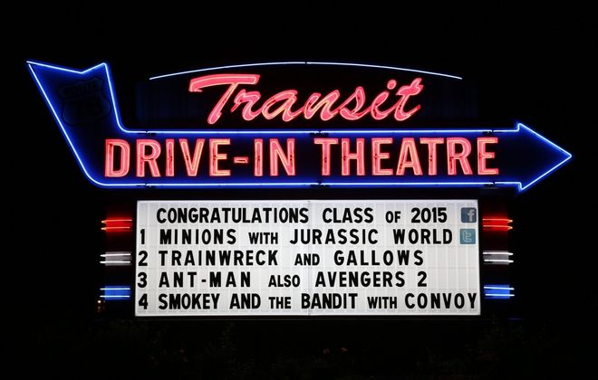 If all goes well, the sign will congratulate the Class of 2020, as some schools plan graduation at the Transit Drive-In in Lockport. (News file photo by Sharon Cantillon)