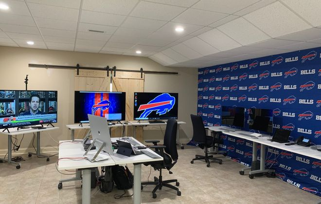 Brandon Beane's rec room is decked out with the tools he needs to conduct the draft from home (Photo courtesy Brandon Beane)