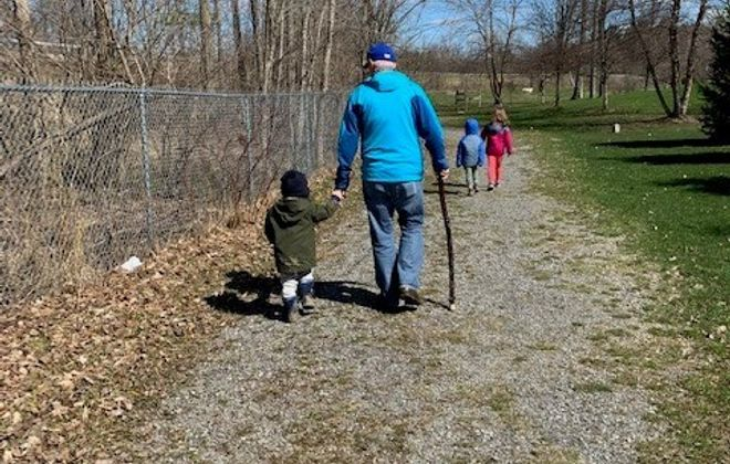 Bill McCarthy of Orchard Park said a walk with his grandchildren was the highlight of his week. (Photo courtesy of Bill McCarthy.)