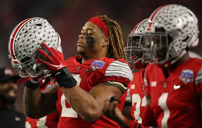 Defensive end Chase Young of the Ohio State Buckeyes during the PlayStation Fiesta Bowl against the Clemson Tigers at State Farm Stadium on Dec. 28, 2019. (Getty Images)