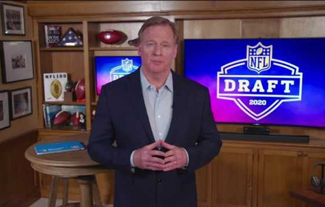 NFL Commissioner Roger Goodell speaks from his home in Bronxville during the first round of the 2020 NFL draft on Thursday. Fans are craving a return to professional sports, but may have to settle for television only. (NFL via Getty Images)