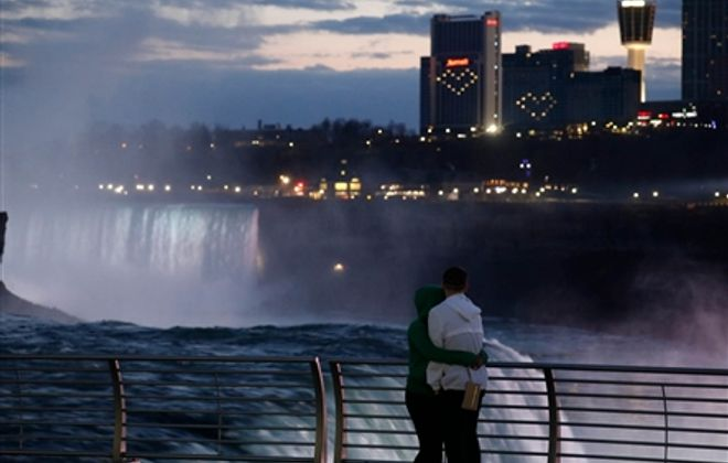 Hearts light the night in the Niagara Falls skyline