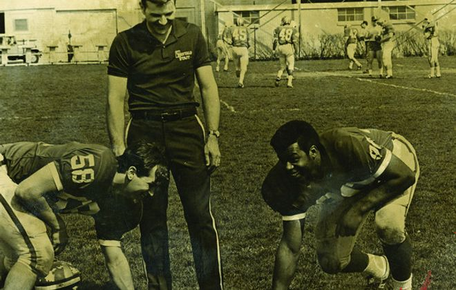 Chuck Donner (58), Prentis Henley (70) and coach Bob Deming were part of UB's 1970 football team, the last to play Division I before the school revived football as a Division III program. (Courtesy UB Libraries)