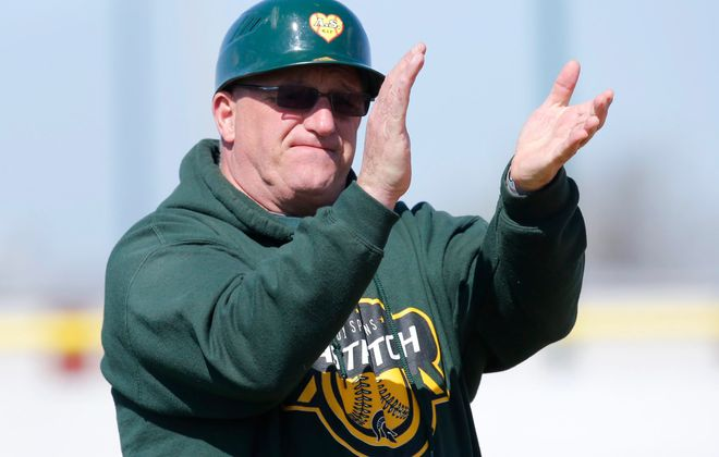 Williamsville North coach Rick Bubar cheers on his team against Sacred Heart during the Gerry Gentner 'Just Show Up' Memorial Softball Tournament at the Northtown center  on Saturday, April 23, 2016. (Harry Scull Jr./Buffalo News)