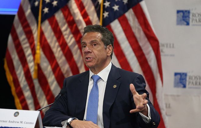 Gov. Andrew Cuomo gave his daily covid-19 briefing at Roswell Park Comprehensive Cancer Center on May 18 and announced that Western New York can reopen under phase one, if enough contact tracers are in place. (John Hickey/Buffalo News)