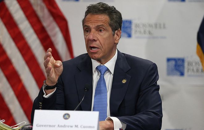 Gov. Andrew Cuomo gave his daily Covid-19 briefing at Roswell Park Comprehensive Cancer Center in Buffalo, on Monday. (John Hickey/Buffalo News)