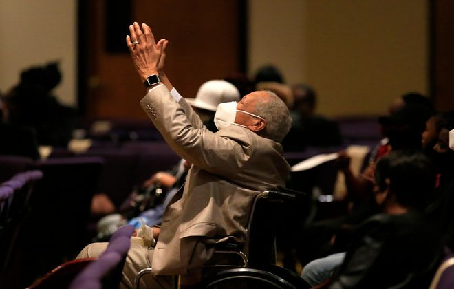 Joseph McKinnon worships at the funeral of his grandson, Joseph Pitts, at True Bethel Baptist Church on Saturday. Pitts, 34, died from Covid-19 after spending 17 days in Buffalo General Medical Center. (Harry Scull Jr./Buffalo News)