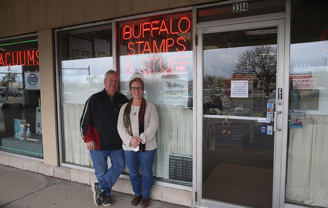 Mark and Sharon Klima at Stamps & Stuff, 3356 Sheridan Drive  in Amherst, on Sunday, May 10, 2020. Sharon Klima has made changes at her store in the wake of Covid-19. (John Hickey/Buffalo News)