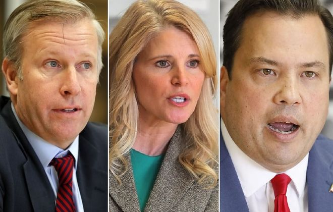 From left, State Sen. Chris Jacobs, family law attorney Beth Parlato and Erie County Comptroller Stefan Mychajliw are running in the Republican primary for the vacant 27th District Congressional seat. (News file photos)